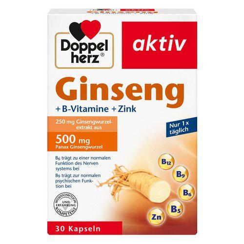 Queisser Pharma GmbH & Co. KG DOPPELHERZ Ginseng 250+B-Vitamine+Zink Kapseln 1 g 12013